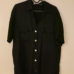 Black satin oversized t-shirt blouse